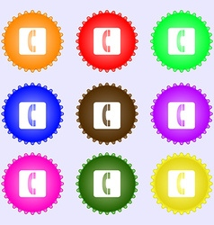 Handset icon sign A set of nine different colored vector