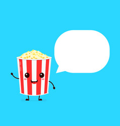 happy smilling cute pop corn bucket vector image