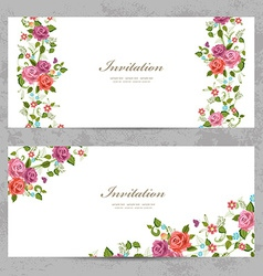 invitation cards with a rose for your design vector image vector image