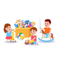Kid playing with toys children and box with toy vector