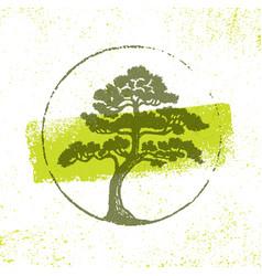 Landscape design eco organic tree sign rough vector