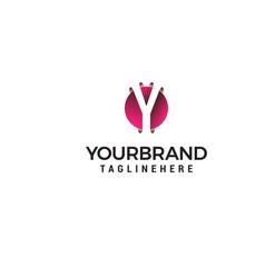 letter y in circle shape logo design concept vector image