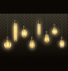 light bulbs realistic lamps hanging on wires vector image