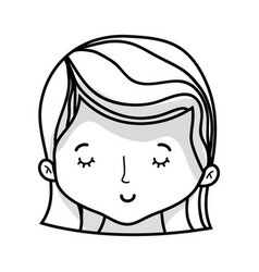 line cute woman head with hairstyle design vector image