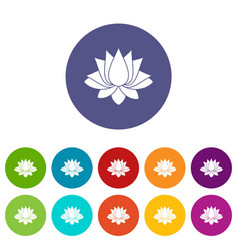 Lotus icons set flat vector