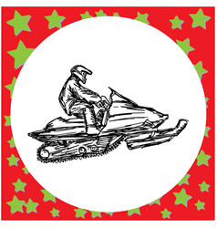 man is engaged in snowmobile vector image