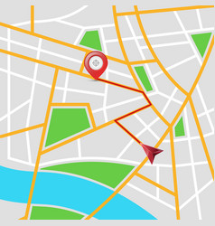 maps city arrows pin vector image
