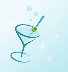 martini drink in glass vector image