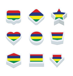 Mauritius flags icons and button set nine styles vector