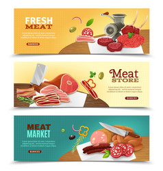 meat market horizontal banners set vector image