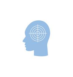 migraine headache icon - human head in profile vector image