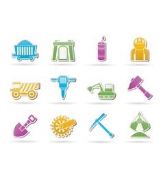 mining and quarrying industry objects and icons vector image