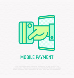 mobile payment hand puts out credit card vector image