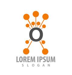 molecule orange letter o concept design symbol vector image