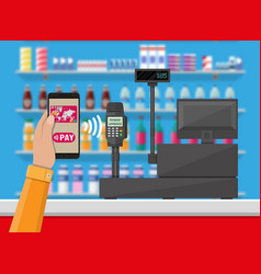 nfc payment in supermarket vector image