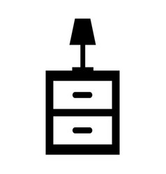 Nightstand with room lamp isolated icon vector