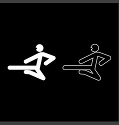 ninja with kick stick icon set white color flat vector image