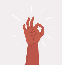 ok hand sign hand on white background vector image