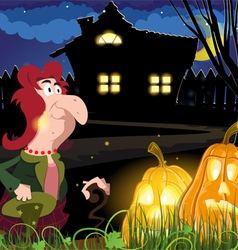 Old witch near the house vector image