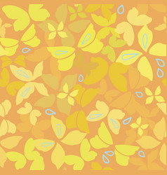 orange pattern with yellow butterflies vector image