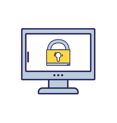 Padlock security protect inside computer vector