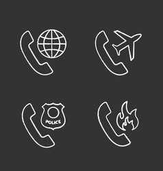 Phone services chalk icons set vector