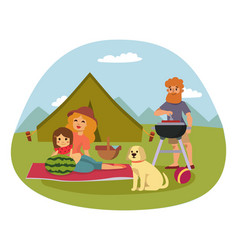 picnic setting with fresh food hamper basket vector image vector image