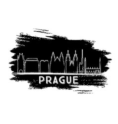 prague skyline silhouette hand drawn sketch vector image