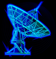 radio telescope parabolic antenna vector image