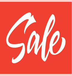 sale hand inscription on a red background vector image