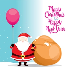 Santa Claus Holding Balloon And Big Sack vector image
