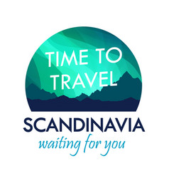 scandinavia travel badge isolated on white label vector image