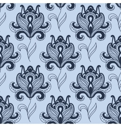 Seamless paisley styled blue flowers pattern vector