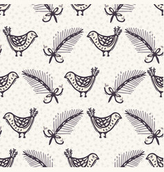 Seamless pattern hand drawn christmas robin bird vector