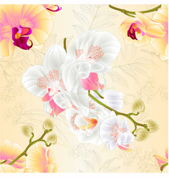 Seamless texture branches orchids white vector