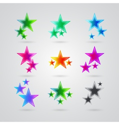 Set colorful stars vector