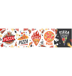 set logos with image a pizza for vector image