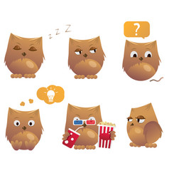 Set of funny cartoon owls cute birds vector