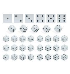 set of isometric dice combination white poker vector image