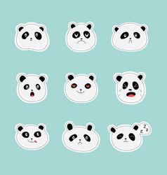 set stickers or emoticon faces panda flat vector image