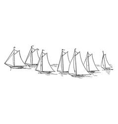Seven sailboats vintage vector