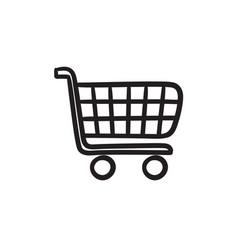 Shopping cart sketch icon vector