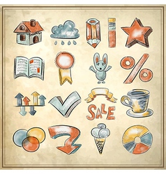 Sketch watercolor icon collection vector