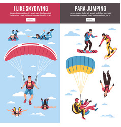 Skydiving banners set vector