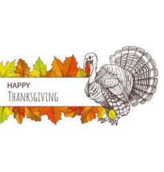 Thanksgiving poster with turkey and fall leaves vector