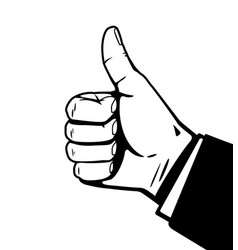 Thumbs up hand black and white vector