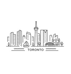 toronto minimal style city outline skyline with vector image