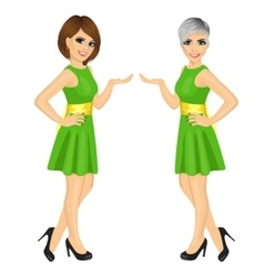 Two beautiful professional fair hostess women vector
