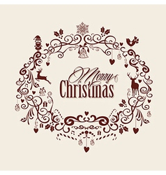 Vintage merry christmas text and mistletoe design vector