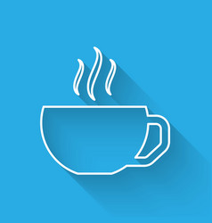 White line coffee cup flat icon isolated with long vector